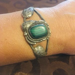 Navajo St.Silver Bracelet with Malachite stone